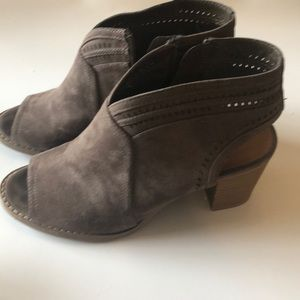 Open toe open back ankle boots